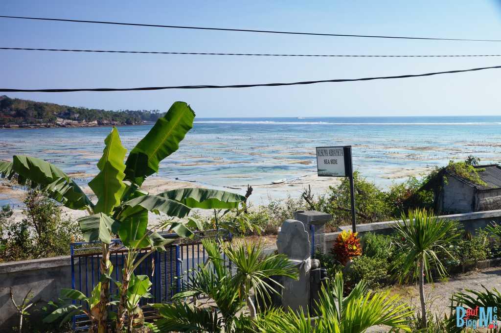 Ausblick auf Meer und Insel Ceningan bei Ebbe