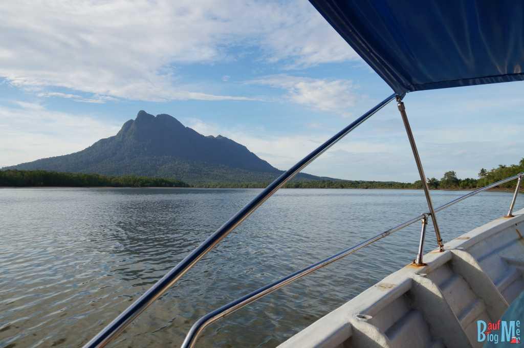 Blick auf den Berg Santubong beim Wetland Cruise nahe Kuching