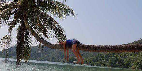 Anna auf einer Palme auf Ko Mak