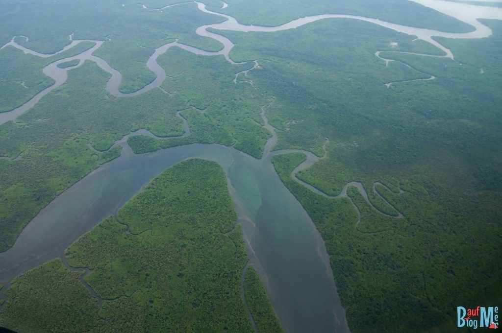 Ausblick auf Fluss und Dschungel auf Borneo