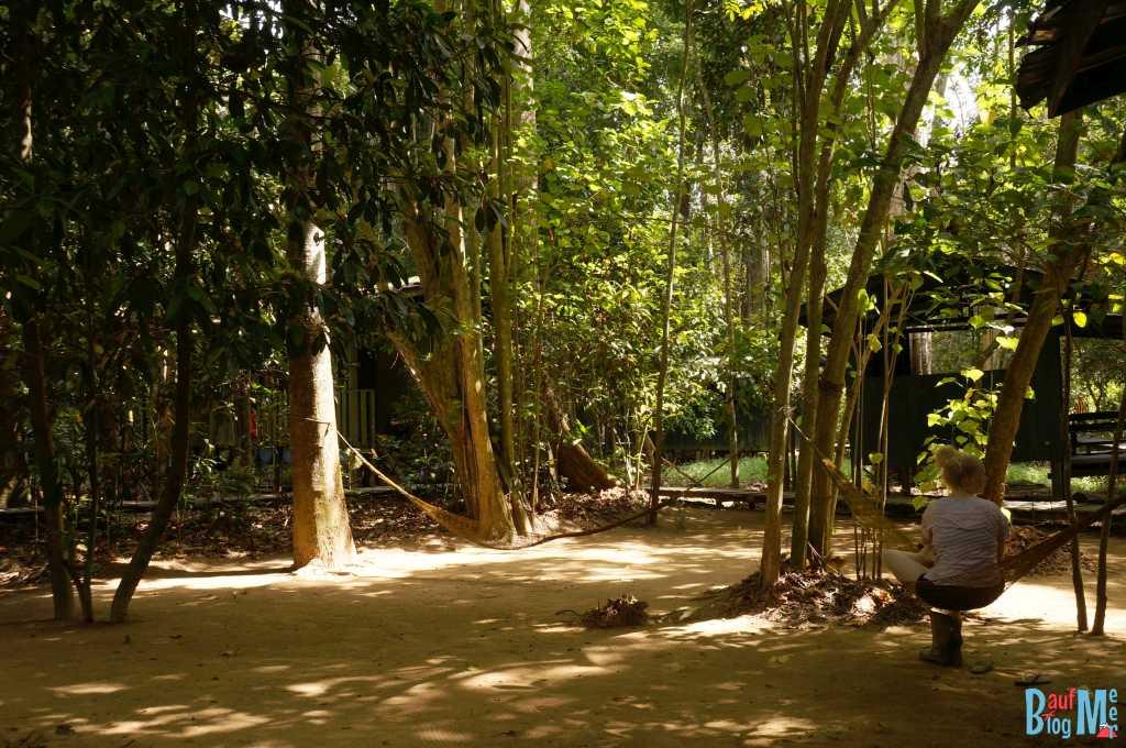 Hängematten im Uncle Tan Camp am Kinabatangan River