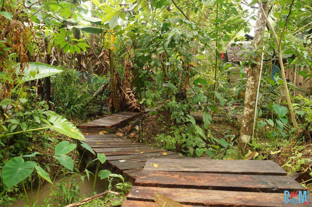 Plankenweg Richtung Toilette im Tampat do Aman