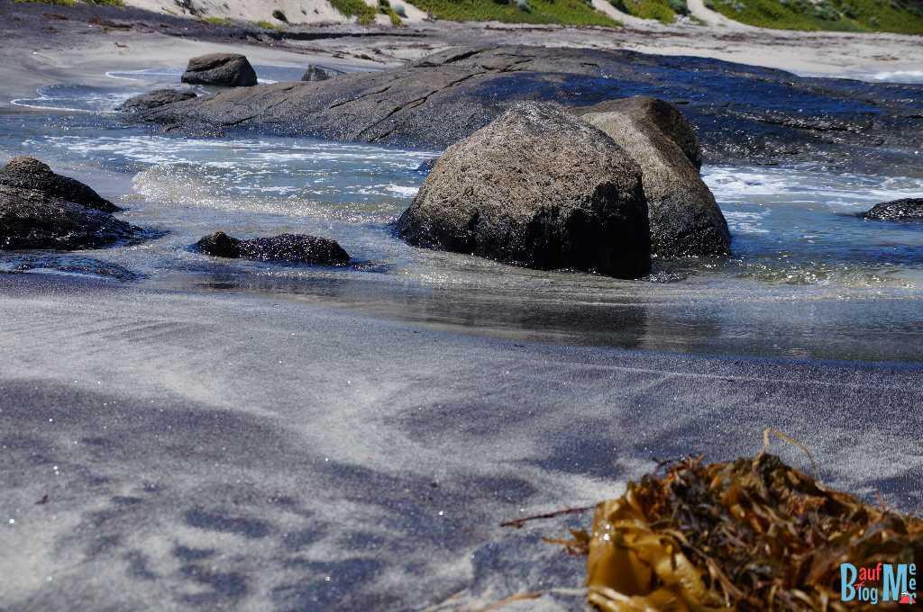 Felsen und Algen in einer Bucht beim Cape Leeuwin