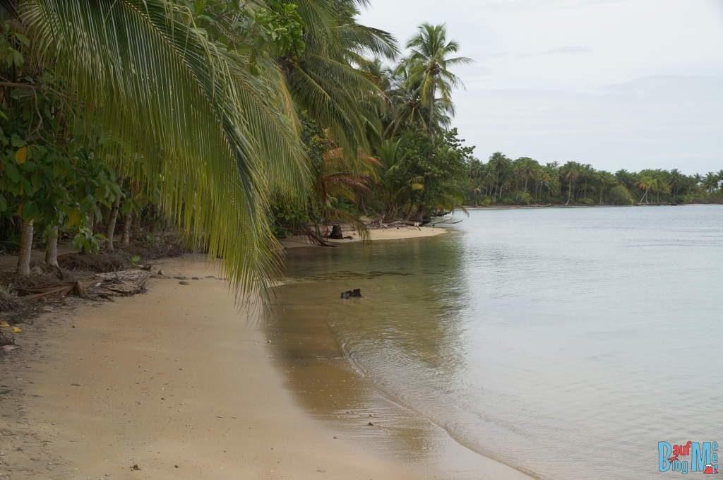 Strandabschnitt vor der Playa Estrella auf Bocas del Toro zur Regenzeit