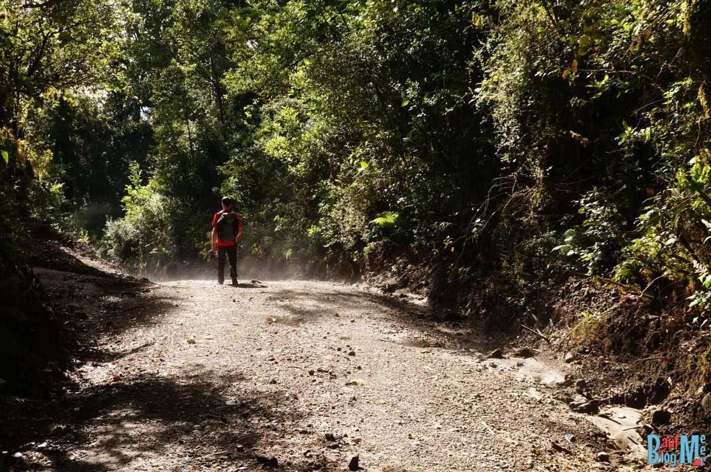 Dunst über dem Weg beim Abstieg vom Volcan Baru