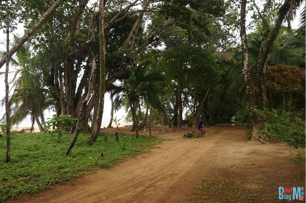 Sandwege parallel zur Playa Bluff in der Regenzeit voller Pfützen