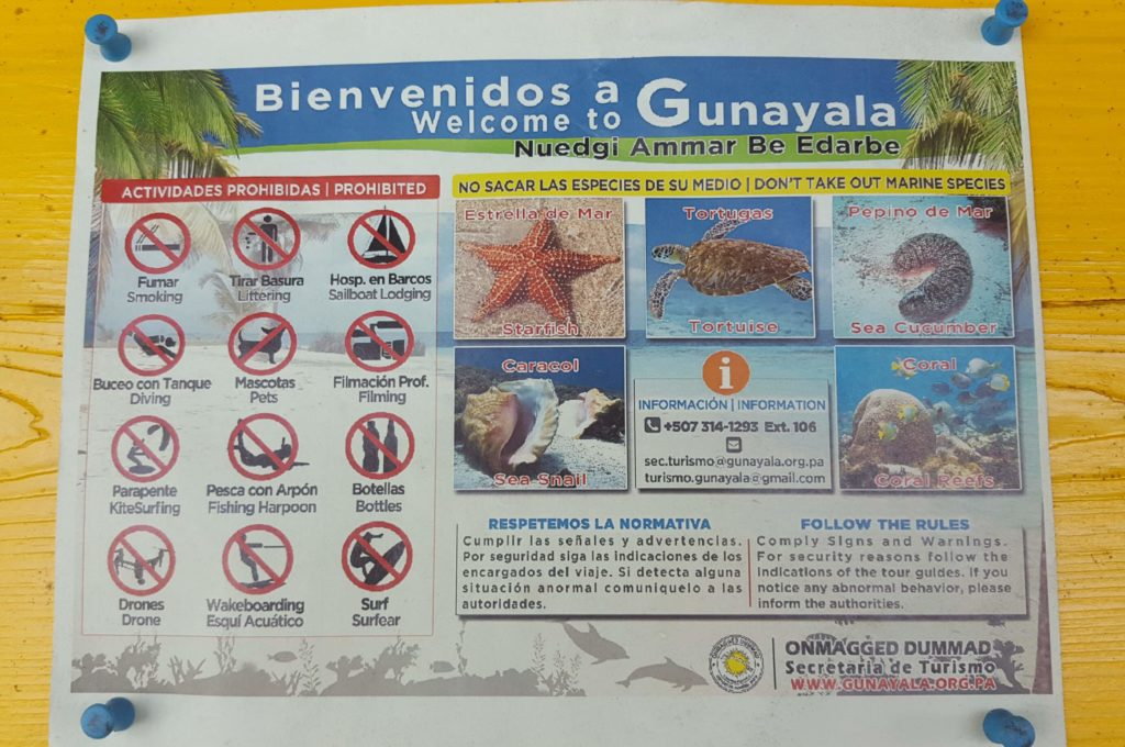 Verbote in Guna Yala aka San Blas