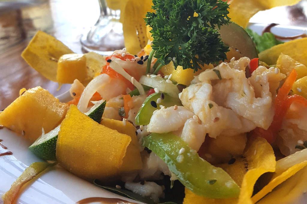 Maracuja Ceviche im Bibi's on the Beach auf Carenero in Bocas del Toro