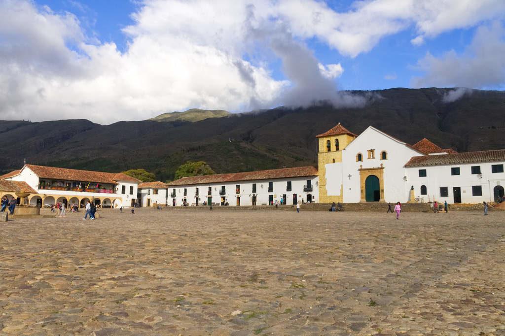 Plaza mayor und Iglesia de Nuestra Señora del Rosario in Villa Leyva