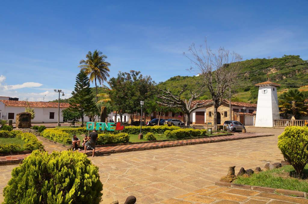 Hauptplatz in Guane, Kolumbien, Departamento Santander