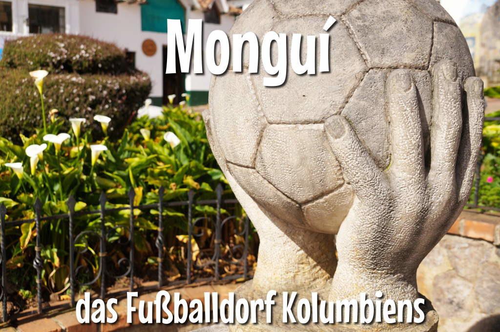 Fußballstatue in Monguí Kolumbien