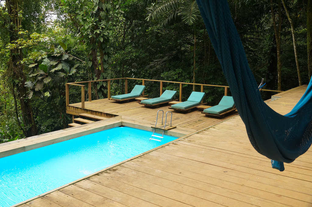 Pool der Nomad Tree Lodge, eines Hostels in Bocas del Toro